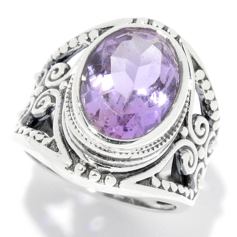 Pinctore Sterling Silver 5.00ctw Oval Pink Amethyst Scrollwork Ring - pinctore