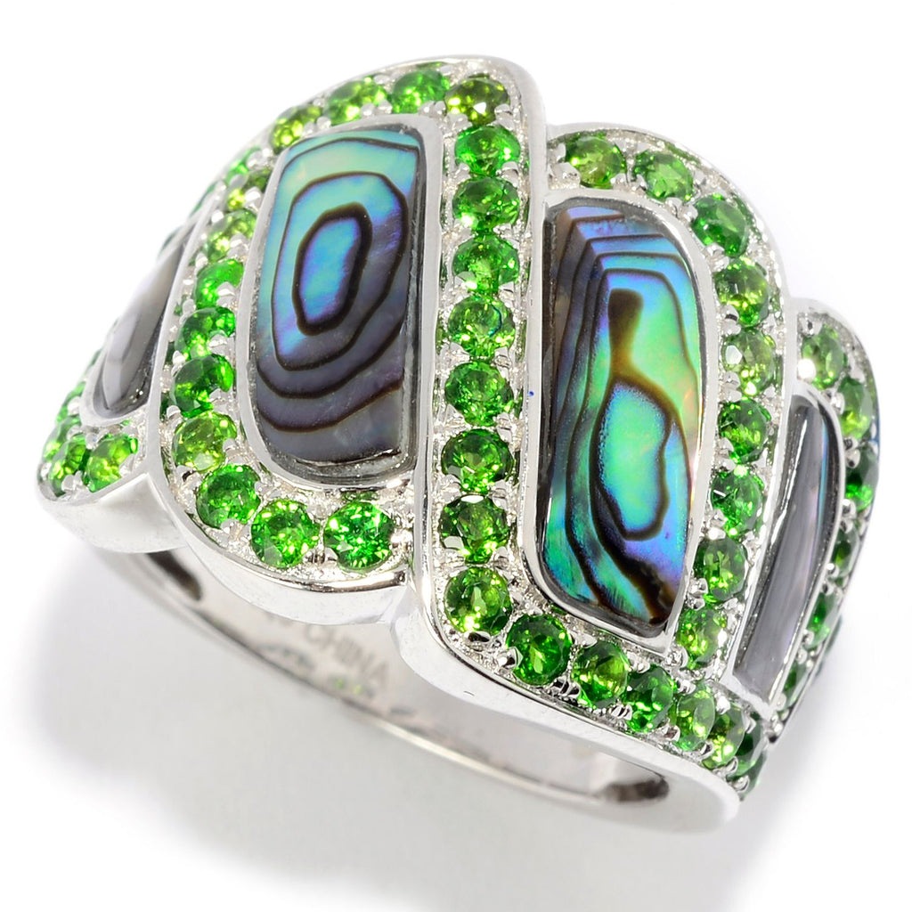 Pinctore Sterling Silver Abalone & Chrome Diopside Wide Band Ring - pinctore