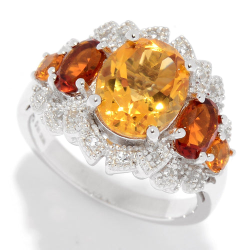 Pinctore Sterling Silver Citrine & White Topaz Fancy Halo Ring - pinctore