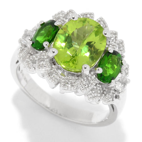 Pinctore Sterling Silver Peridot & White Topaz Fancy Halo Ring - pinctore