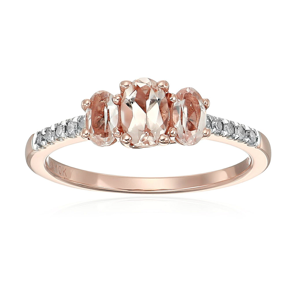 10k Rose Gold Morganite and Diamond 3-Stone Engagement Ring - pinctore