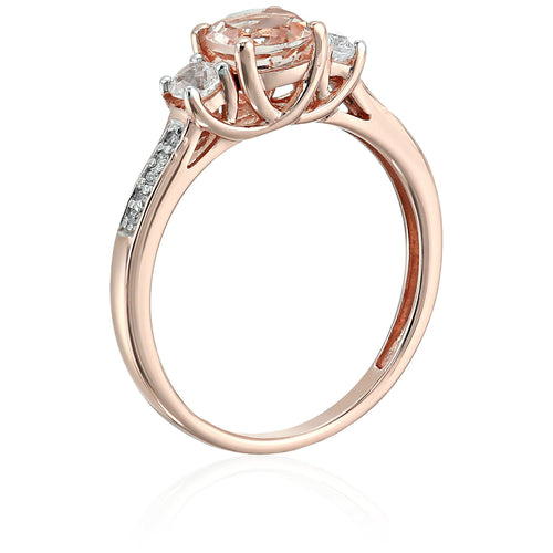 Pinctore 10k Rose Gold Morganite, Created White Shapphire and Diamond Accented 3-Stone Engagement Ring - pinctore