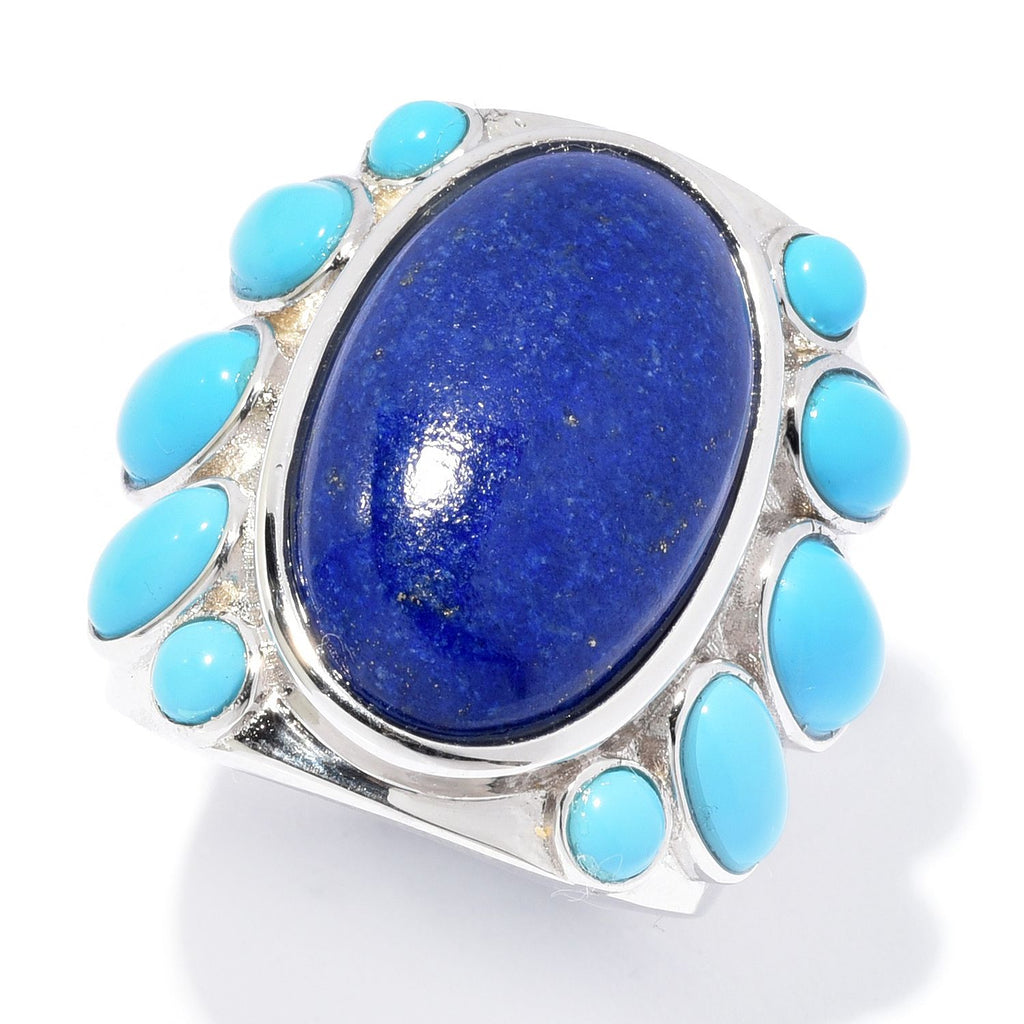 Pinctore 20 x 12mm Oval Shaped Lapis & Sonora Beauty Turquoise Ring - pinctore