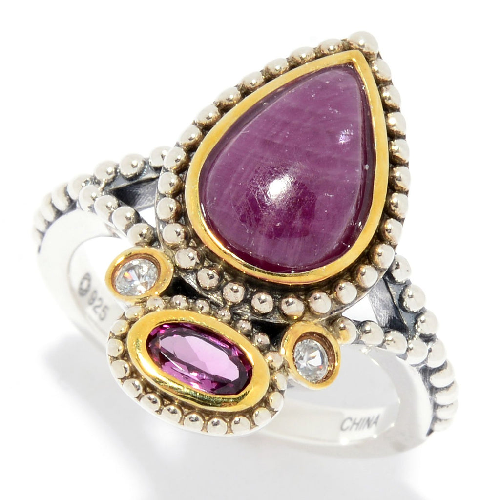 Pinctore Sterling Silver Ruby, Rhodolite & White Zircon Beaded Ring - pinctore