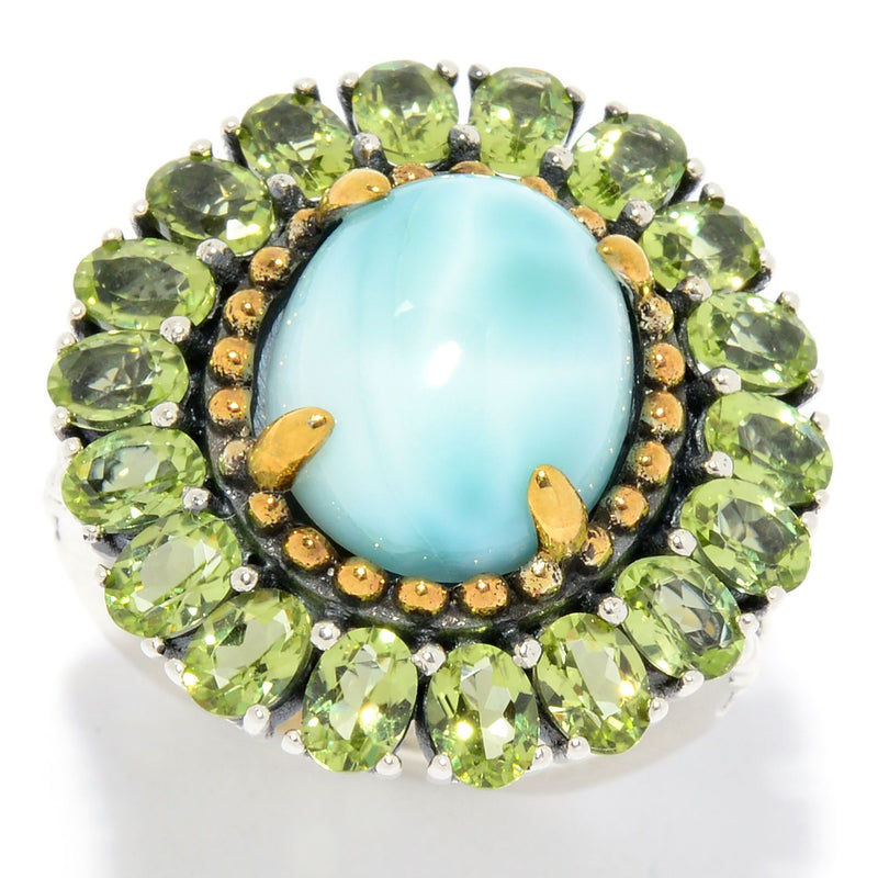Pinctore Sterling Silver 12 x 10mm Oval Larimar & Peridot Halo Ring - pinctore