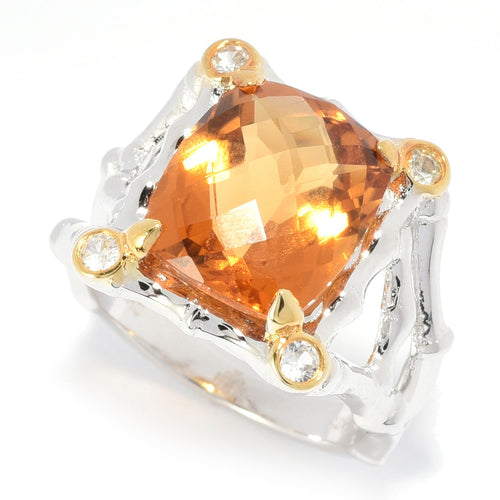 Pinctore Sterling Silver 5.16ctw Honey Citrine & Gemstone Fancy Shank Ring - pinctore