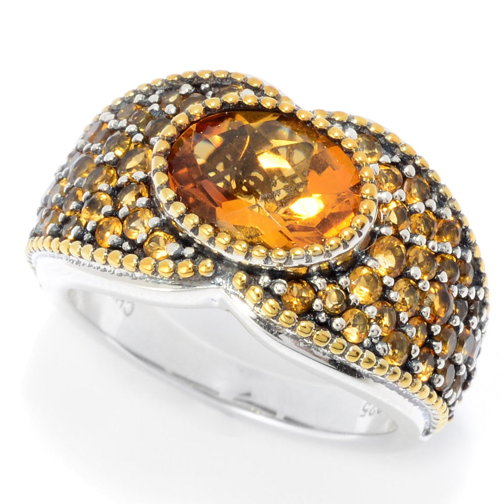Pinctore Sterling Silver Two-tone 3.07ctw Madeira Citrine Band Ring - pinctore