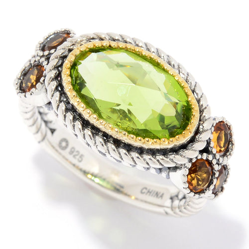 Pinctore Sterling Silver 3.55ctw Oval Peridot & Citrine Rope Detailed Ring - pinctore