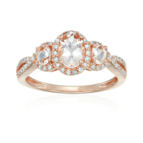 Pinctore 14k Rose Gold Morganite & Diamond 3-stone Engagement Ring - pinctore
