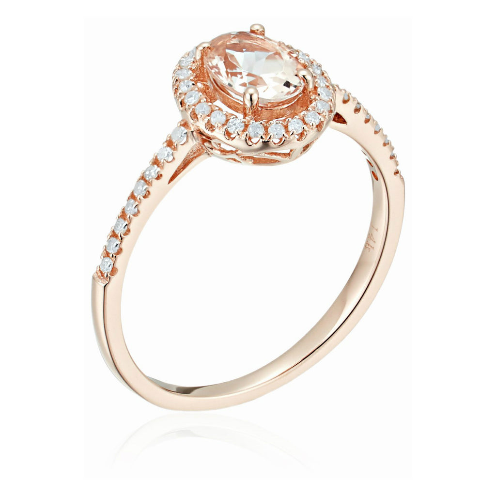 Pinctore 14k Rose Gold Morganite & Diamond Engagement Ring - pinctore
