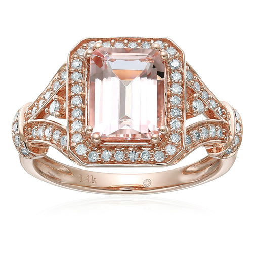Pinctore 14k Rose Gold Emerald-cut Morganite and Diamond Halo Engagement Ring - pinctore