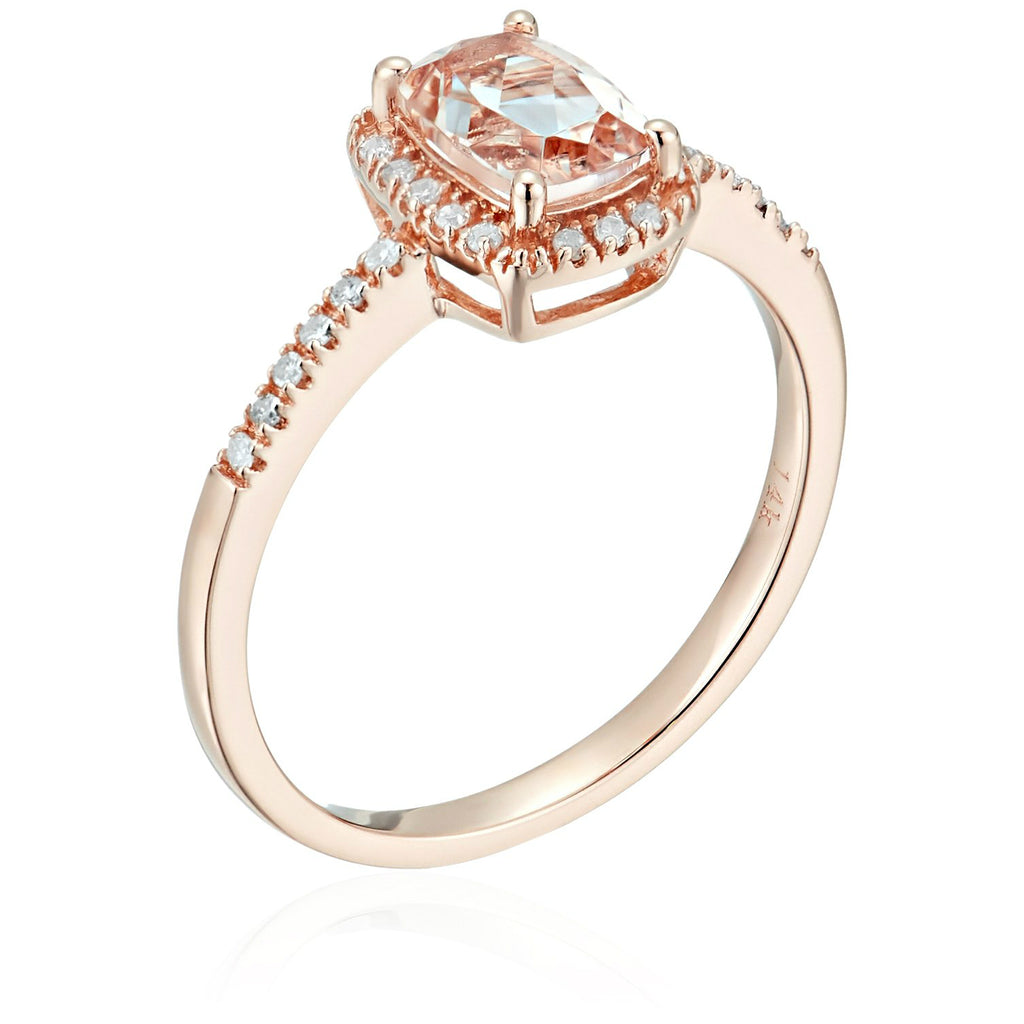 Pinctore 14k Rose Gold Cushion-cut Morganite and Diamond Halo Engagement Ring - pinctore