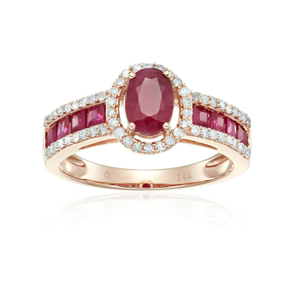 Pinctore 14k Rose Gold Ruby & Diamond Halo Engagement Ring - pinctore