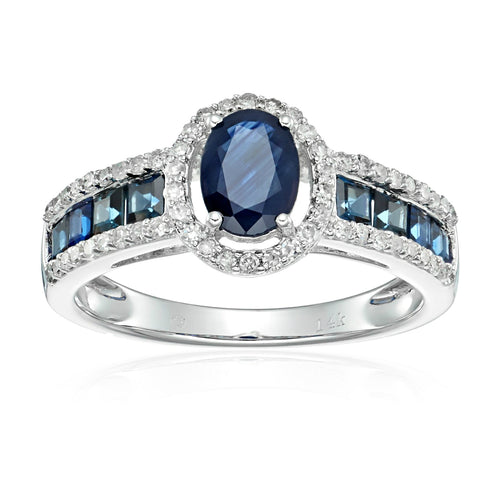 Pinctore 14k White Gold Blue Sapphire and Diamond Halo Engagement Ring - pinctore