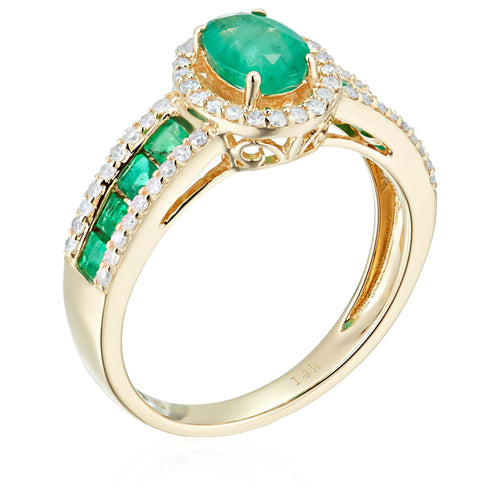 14k Yellow Gold Emerald and Diamond Halo Engagement Ring (1/4 cttw, I-J Color, Clarity I2-I3), - pinctore