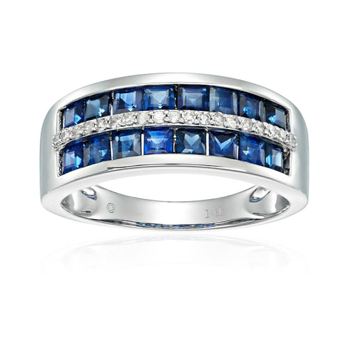 Pinctore 14k White Gold Blue Sapphire and Diamond Wedding Band - pinctore