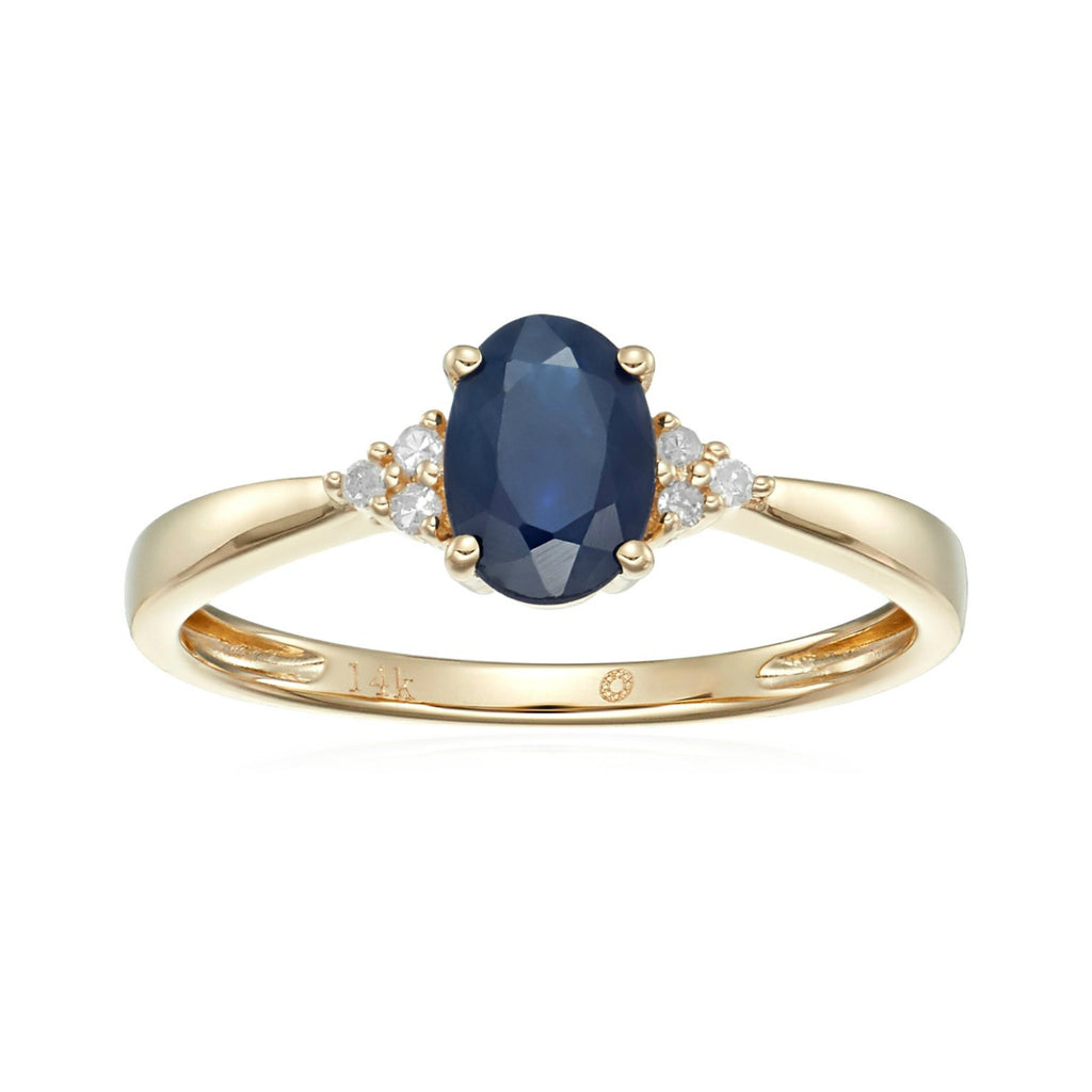 14k Yellow Gold Blue Sapphire and Diamond Classic Engagement Ring (1/10 cttw, I-J Color, Clarity I2-I3), - pinctore