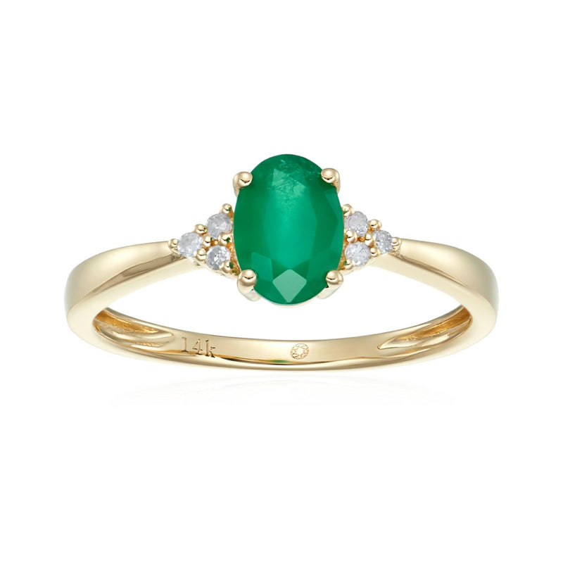 Pinctore 14k Yellow Gold Emerald & Diamond Classic Engagement Ring - pinctore