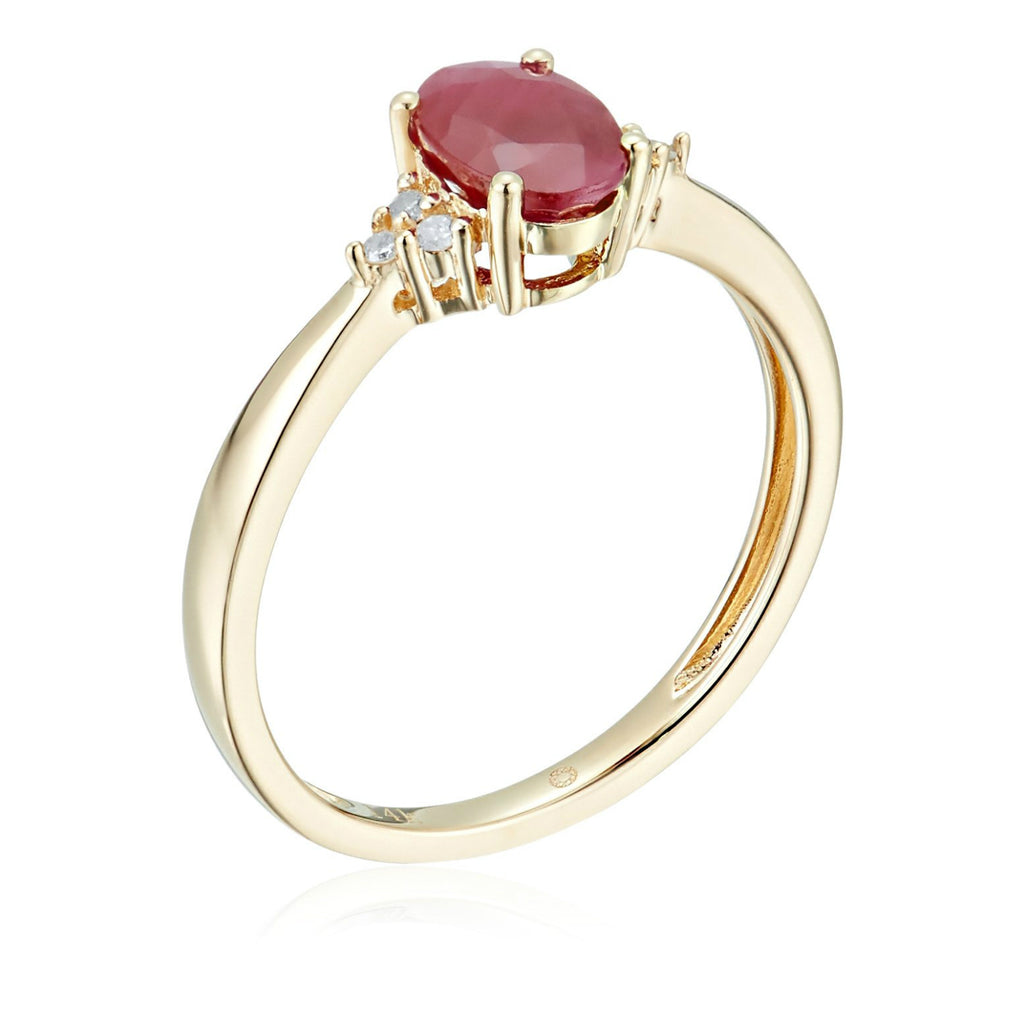 14k Yellow Gold Ruby and Diamond Classic Engagement Ring (1/10 cttw, I-J Color, Clarity I2-I3), - pinctore