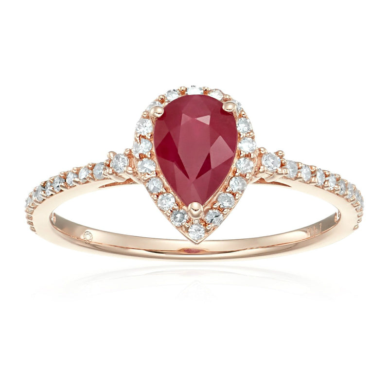 Pinctore 14k Rose Gold Ruby and Diamond Halo Engagement Ring - pinctore