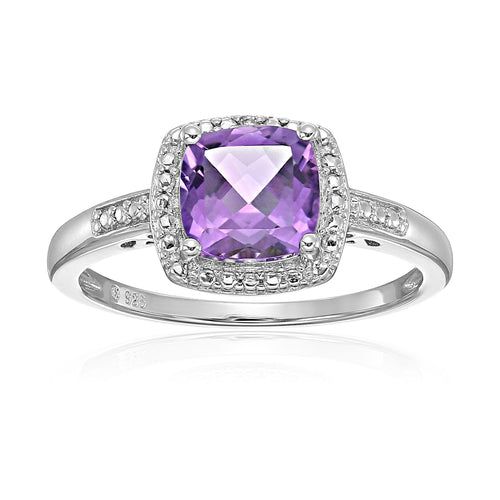 Sterling Silver Cushion Amethyst and Diamond Accented Halo Engagement Ring - pinctore