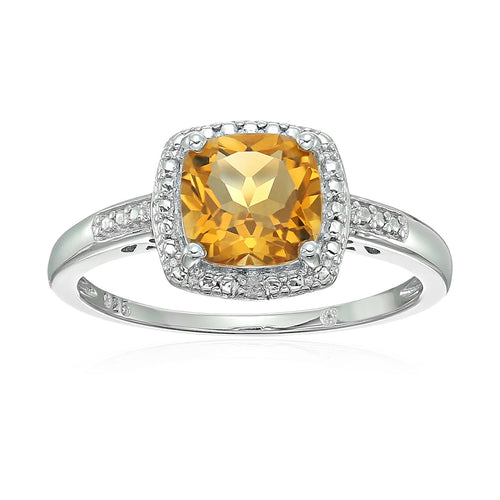Sterling Silver Cushion Citrine and Diamond Accented Halo Engagement Ring - pinctore