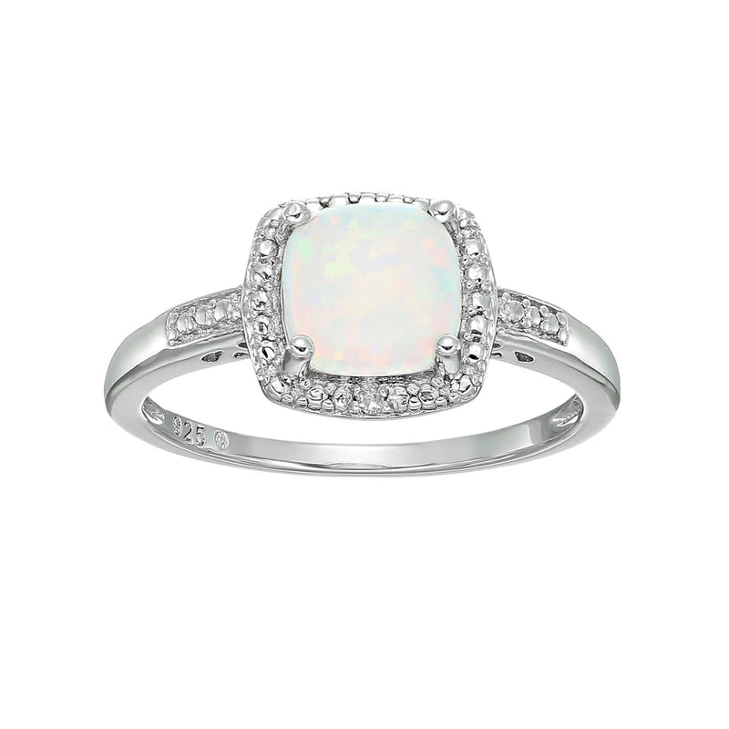 Pinctore Sterling Silver Cushion Created Opal & Diamond Ring - pinctore