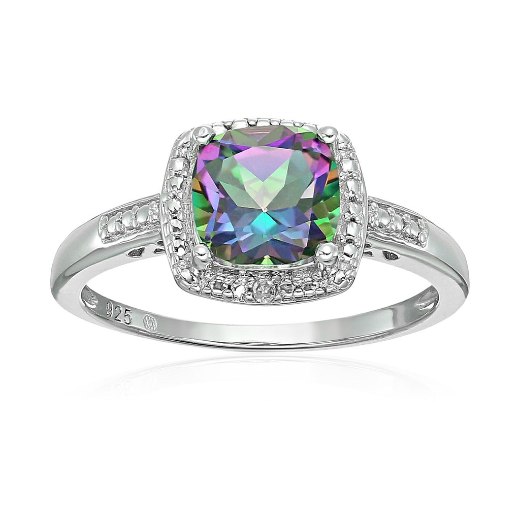 Sterling Silver Cushion Mystic Topaz and Diamond Accented Halo Engagement Ring - pinctore