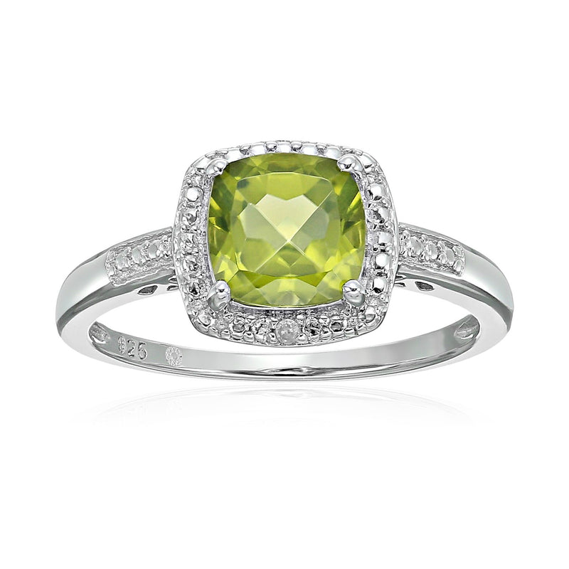 Sterling Silver Cushion Peridot and Diamond Accented Halo Engagement Ring - pinctore