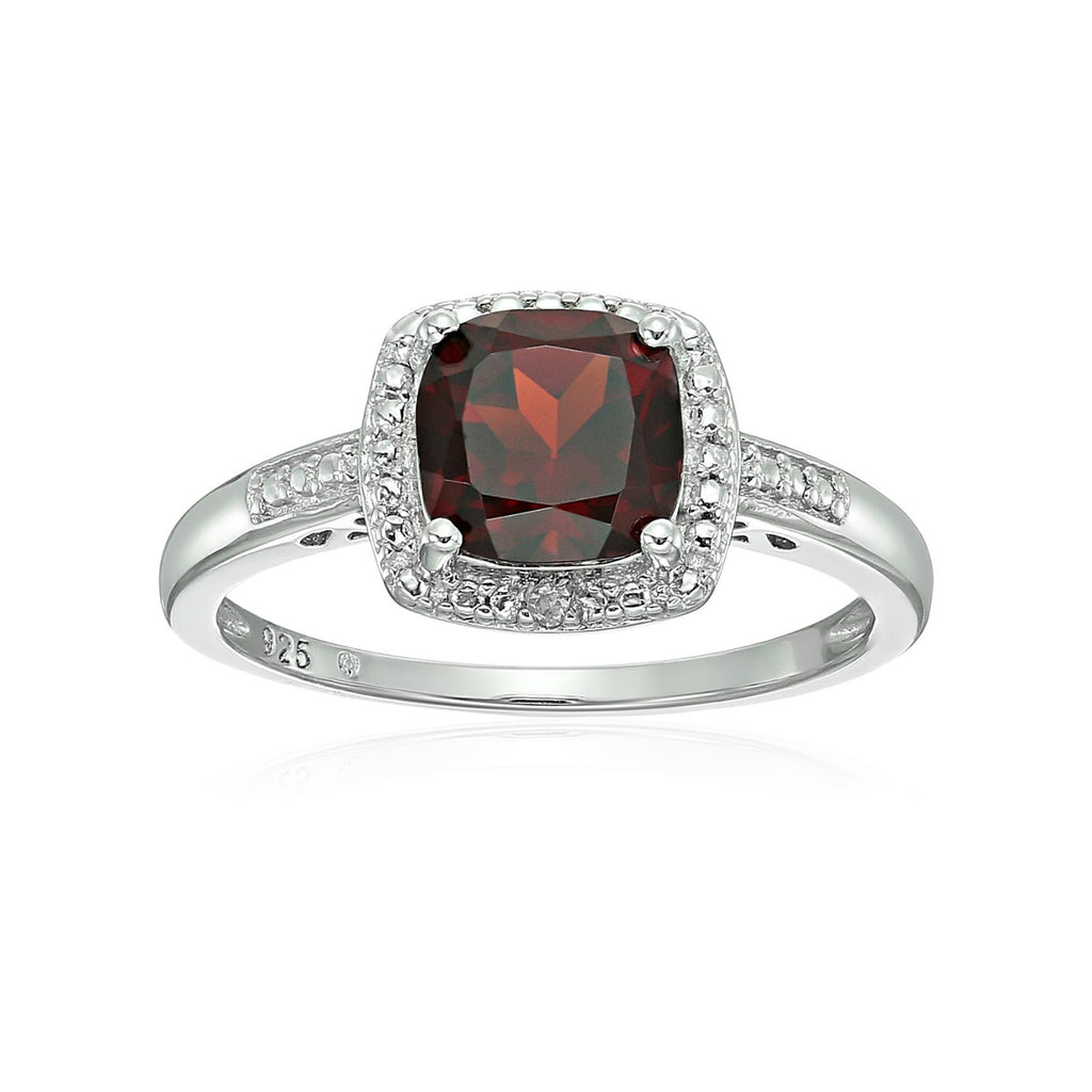 Sterling Silver Cushion Garnet and Diamond Accented Halo Engagement Ring
