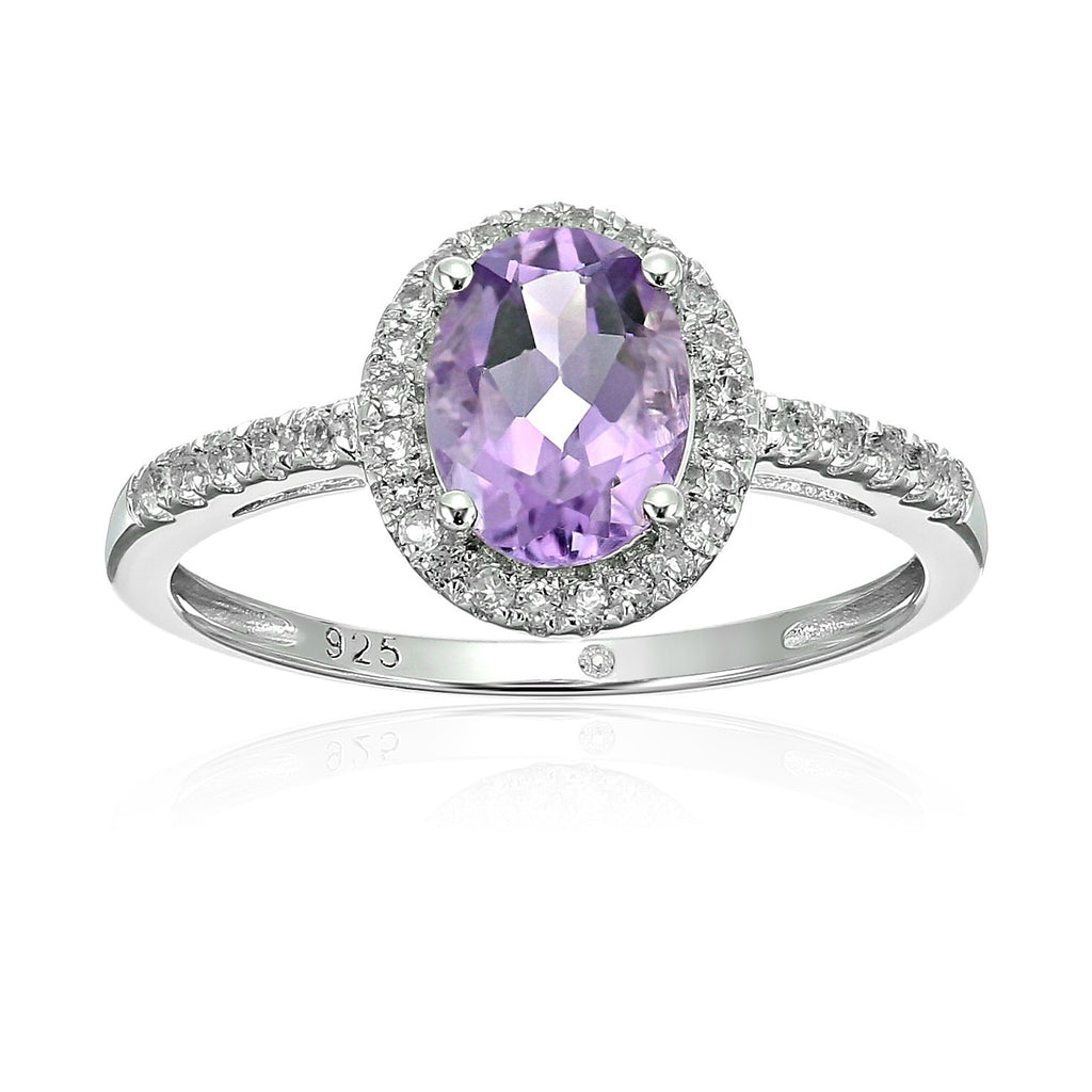 Sterling Silver Oval Amethyst and White Topaz Halo Engagement Ring - pinctore