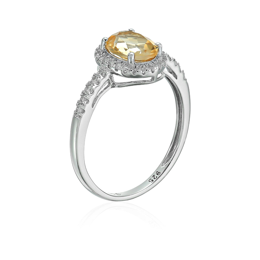 Sterling Silver Oval Citrine and White Topaz Halo Engagement Ring