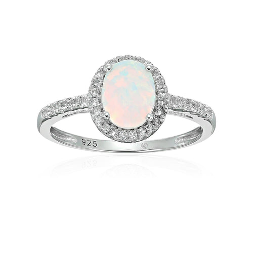 Sterling Silver Oval Created Opal and White Topaz Halo Engagement Ring - pinctore