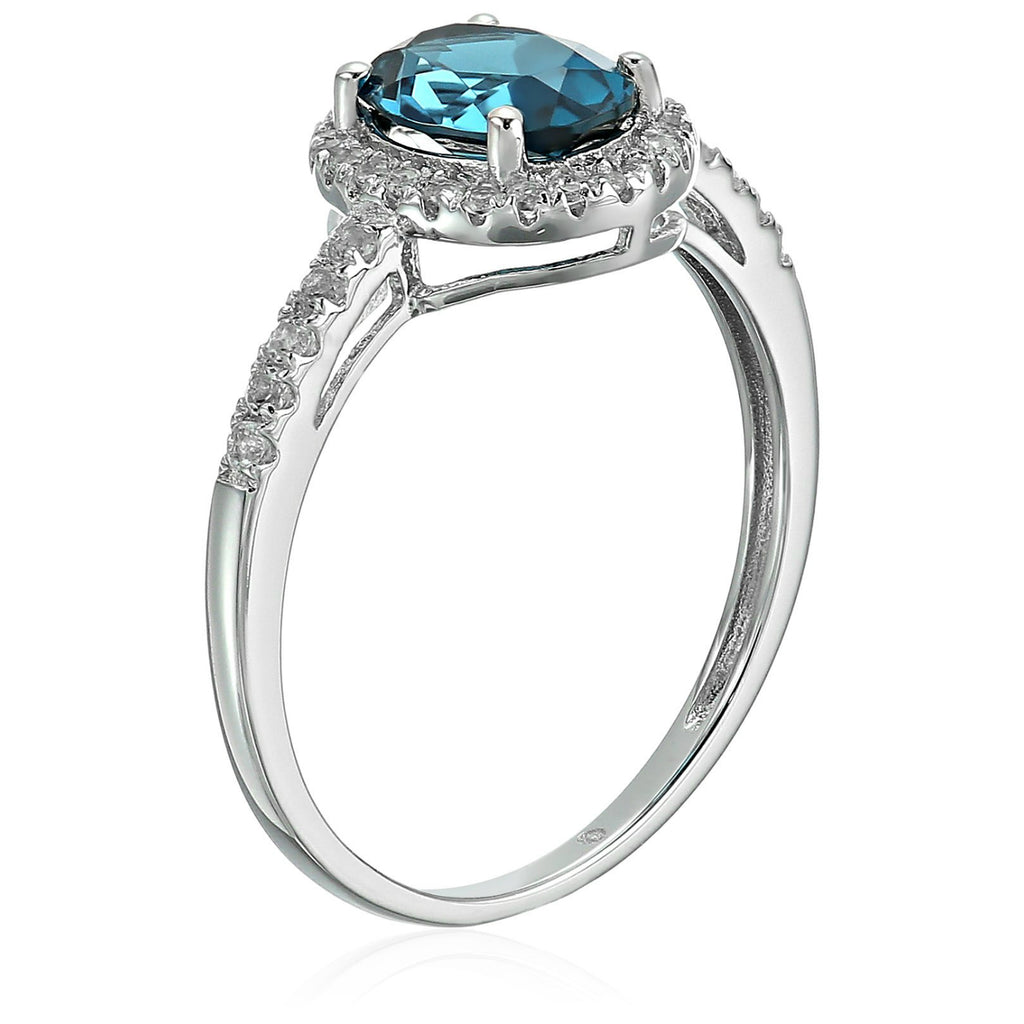 Sterling Silver Oval London Blue Topaz and White Topaz Halo Engagement Ring - pinctore