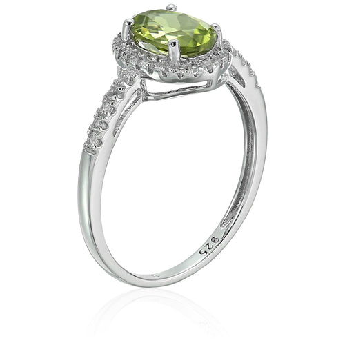 Sterling Silver Oval Peridot and White Topaz Halo Engagement Ring - pinctore