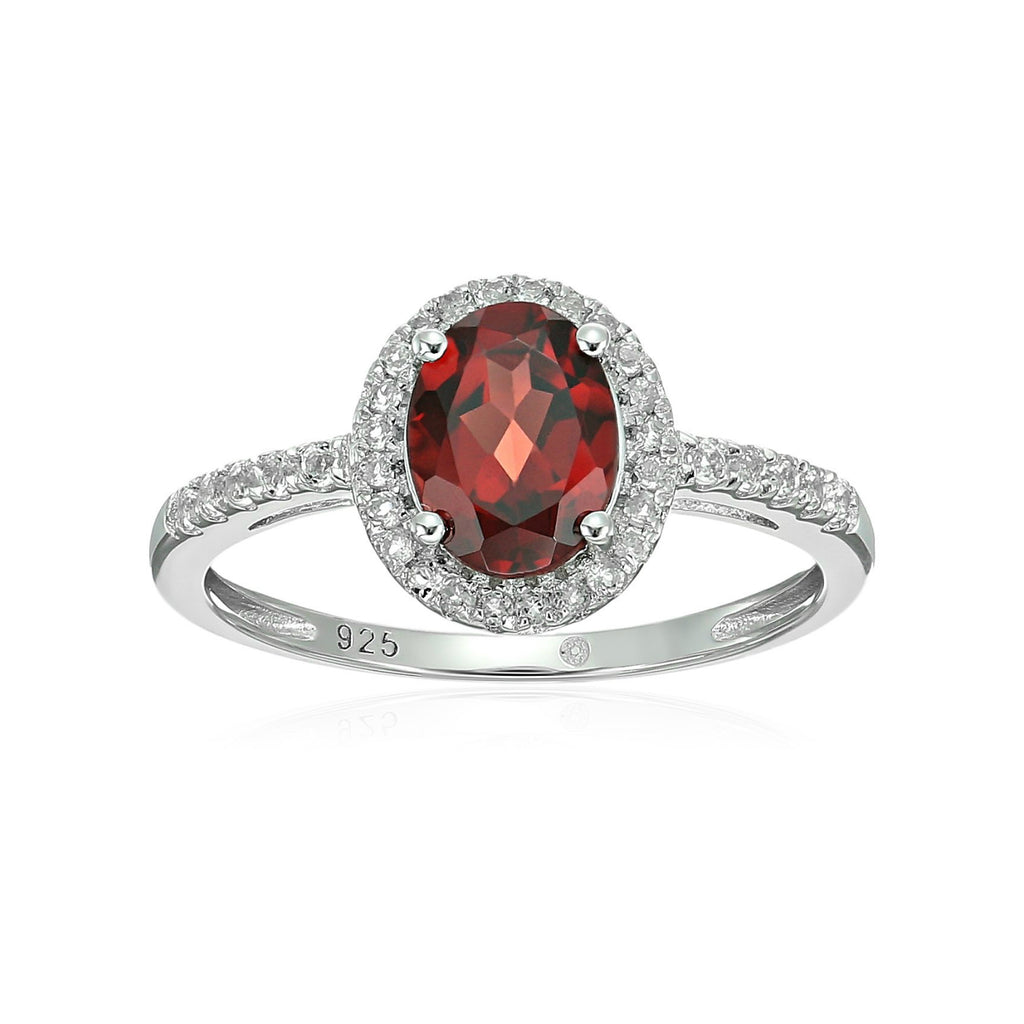 Sterling Silver Oval Garnet and White Topaz Halo Engagement Ring