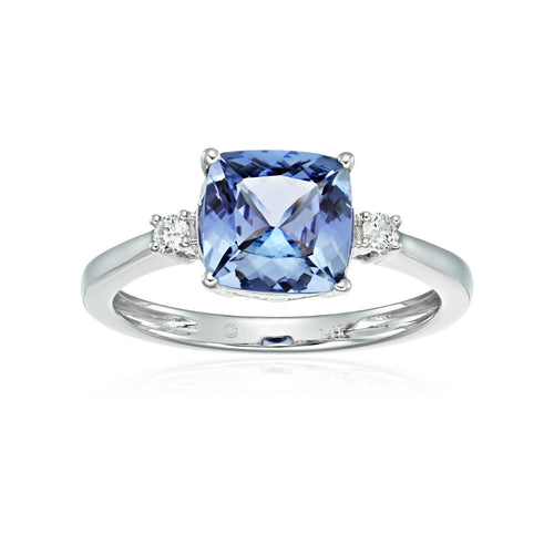 Pinctore 14k White Gold Cushion Tanzanite & Diamond Solitaire Ring - pinctore