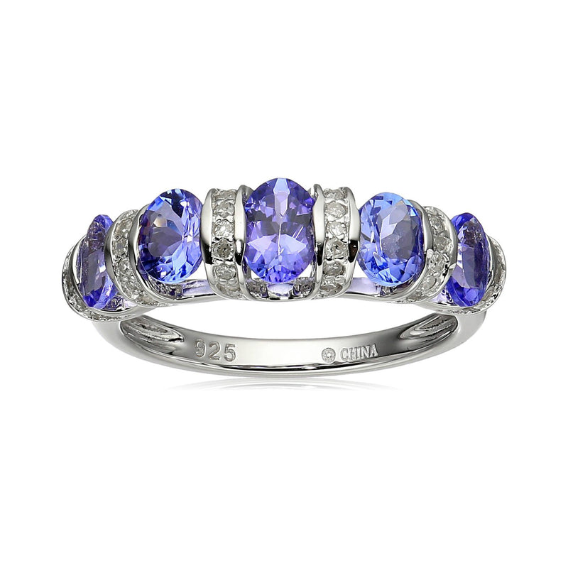 Pinctore Sterling Silver Tanzanite and Diamond 5-stone Stackable Ring - pinctore