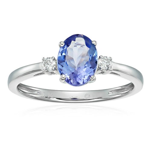 Pinctore 14k White Gold Tanzanite and Diamond Classic Engagement Ring - pinctore