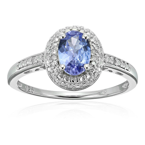 Sterling Silver 3/4 cttw Oval Tanzanite and Diamond Accented Engagement Ring - pinctore