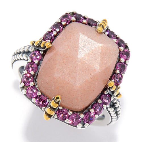 Pinctore 14 x 10mm Peach Moonstone & Rhodolite Garnet Beaded Halo Ring - pinctore