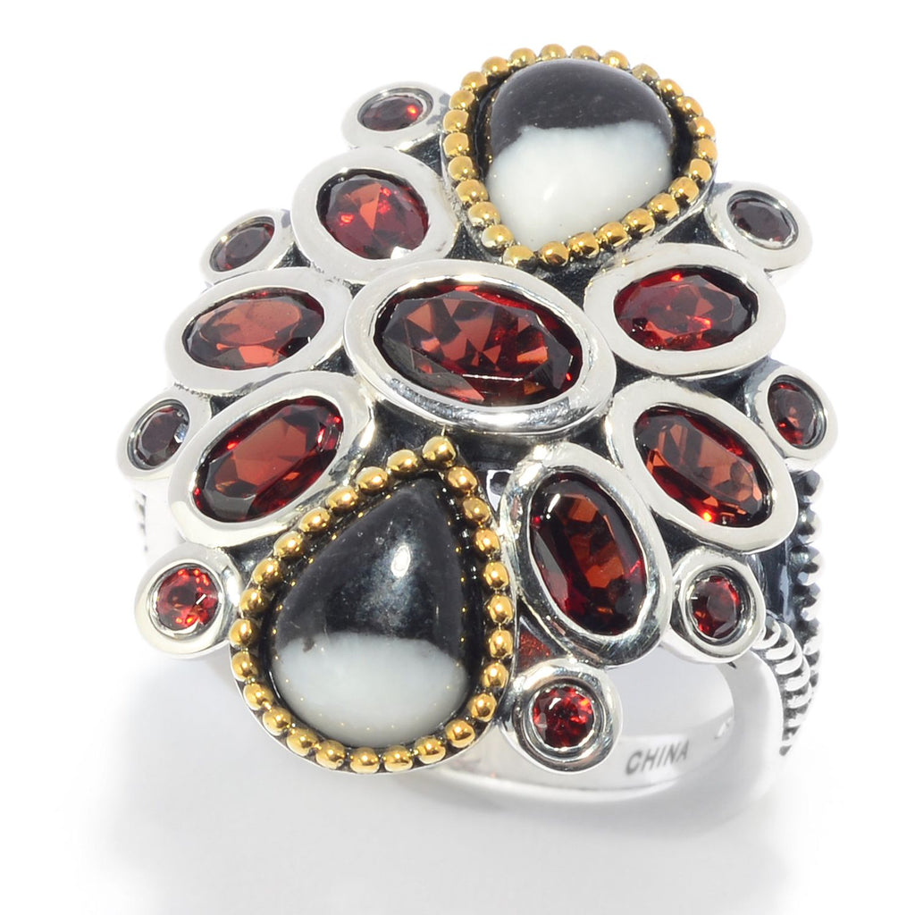 Pinctore Sterling Silver White Buffalo & Mozambique Garnet Cluster Ring - pinctore