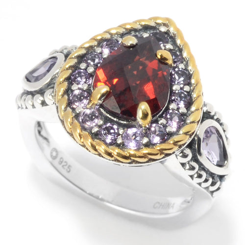 Pinctore Multi Red Garnet 3-Stone Halo Ring - pinctore