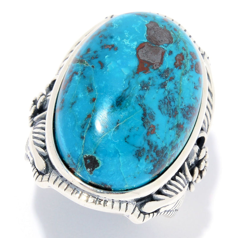 Pinctore Sterling Silver 24 x 16mm Oval Chrysocolla Flower Ring - pinctore
