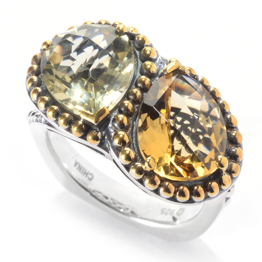 Pinctore Sterling Silver Two-tone 11 x 9mm Pear Shaped Citrine 2-Stone Ring - pinctore