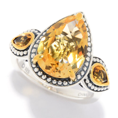 Pinctore Multi Citrine 3-Stone Beaded Ring - pinctore