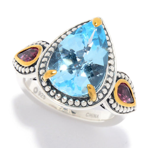 Pinctore Multi Sky Blue Topaz 3-Stone Beaded Ring - pinctore