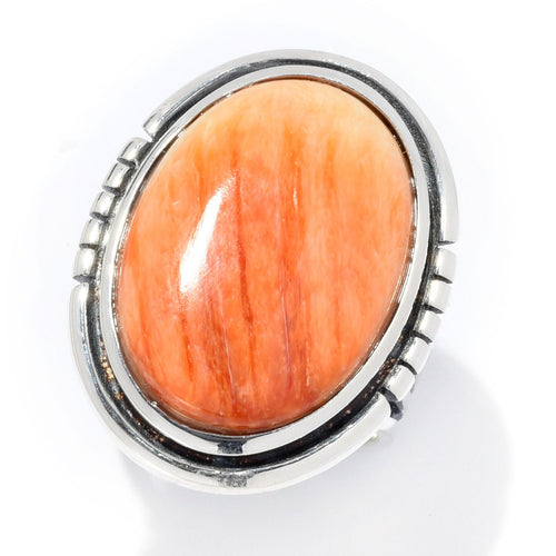 Pinctore Sterling Silver Choice of 21 x 15mm Oval Orange Spiny Oyster Ring - pinctore