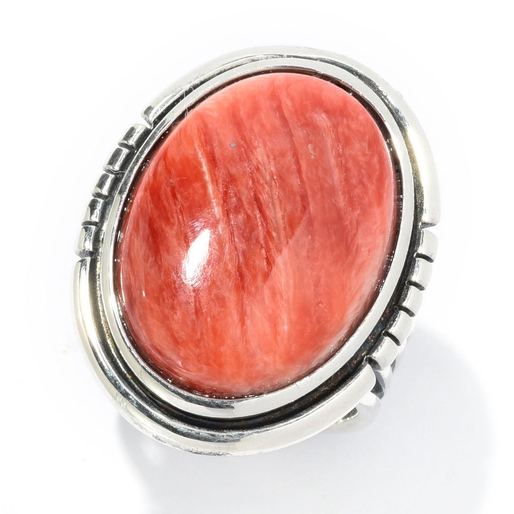 Pinctore Sterling Silver Choice of 21 x 15mm Oval Red Spiny Oyster Ring - pinctore