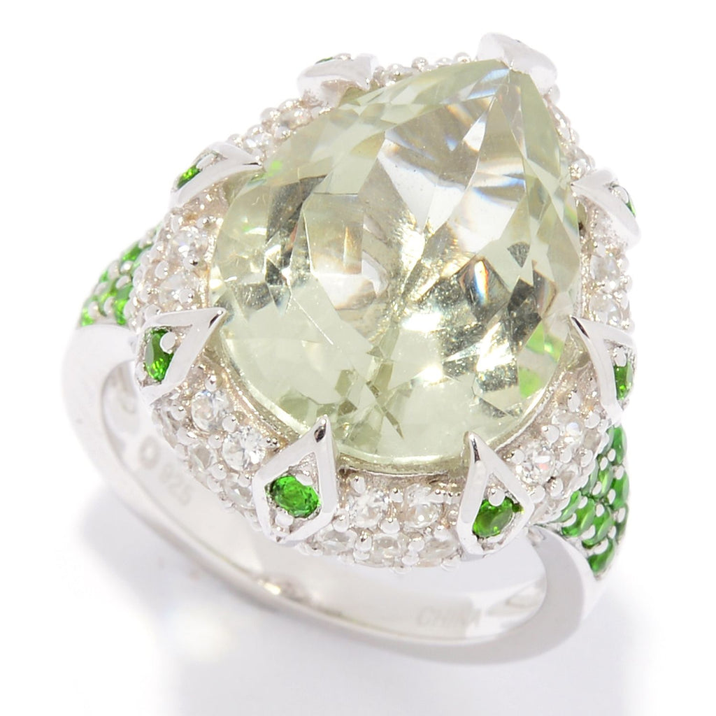 Pinctore Sterling Silver Pear Cut Chrome Diopside & White Zircon Ring - pinctore